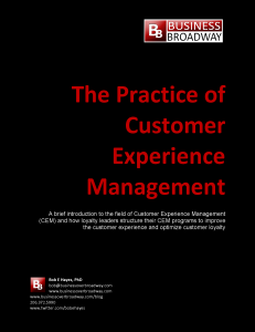 The Practice of Customer Experience Management: Paper for a Tweet